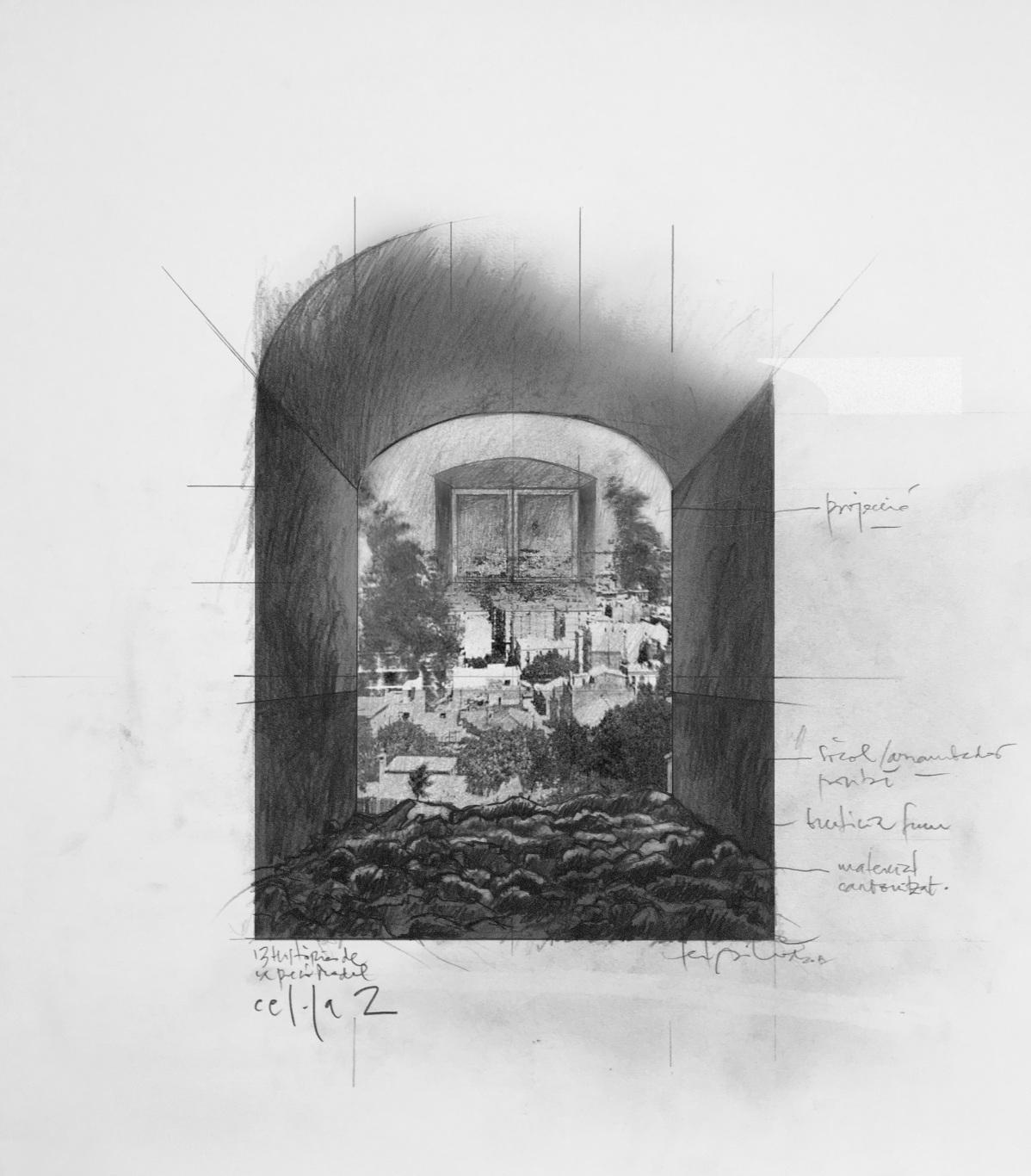Visita museizada a la Presó Model. Dibujo de diseño Celda 2.