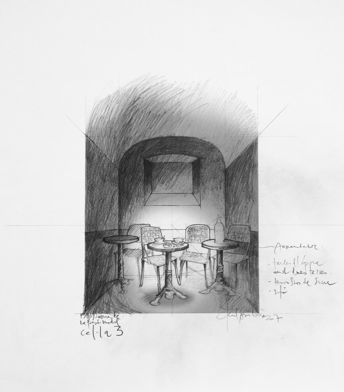 Visita museizada a la Presó Model. Dibujo de diseño Celda 3.